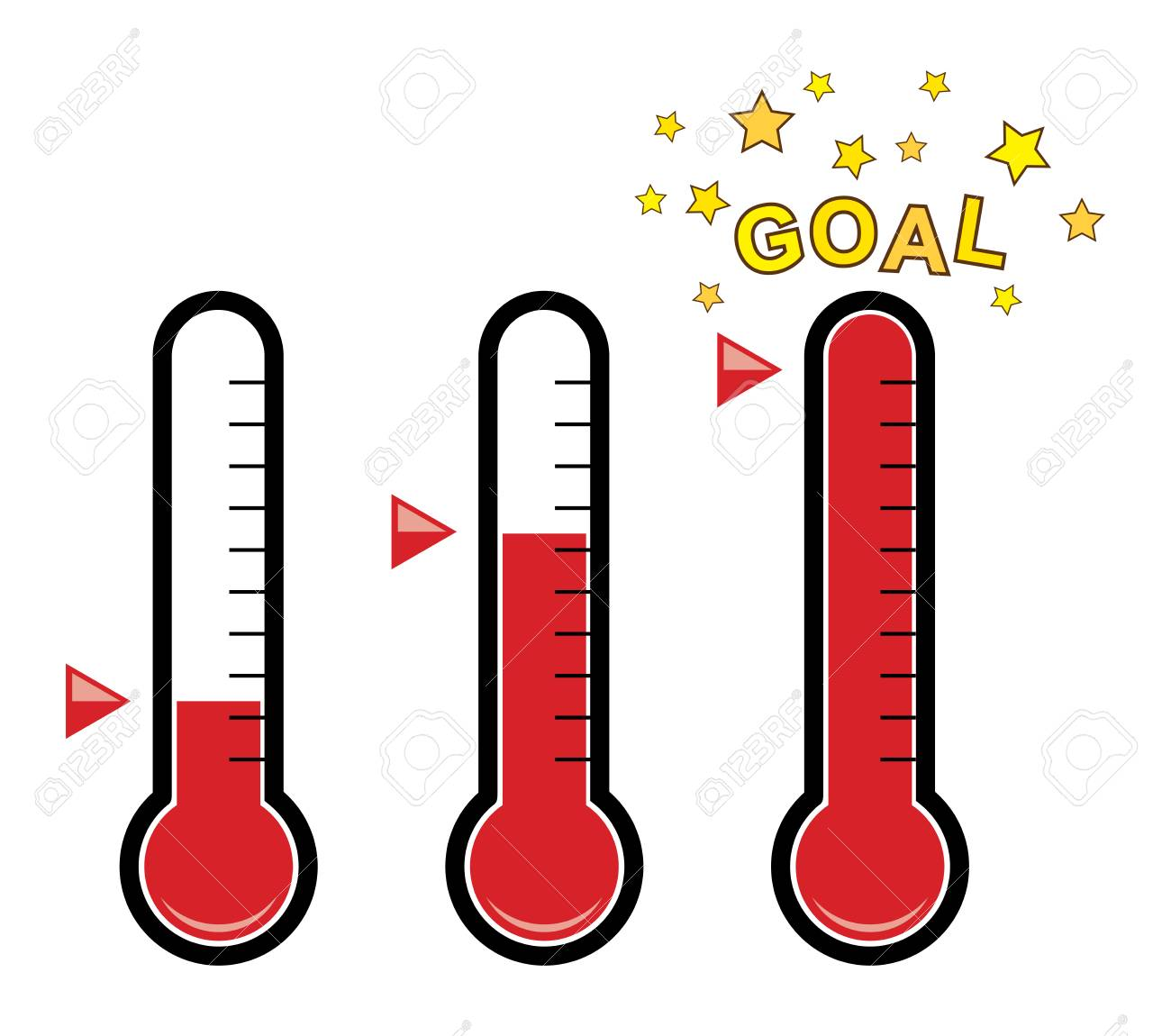 vector clipart set of goal thermometers at different levels with...