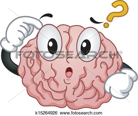 Clip Art of Thinking Brain Mascot k15264927.