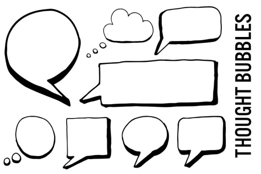 Speech and Thought Bubbles Clipart.