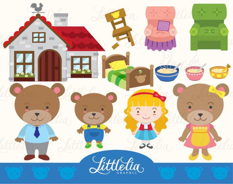 Goldilock and three bears clipart set/ digital download 14017.