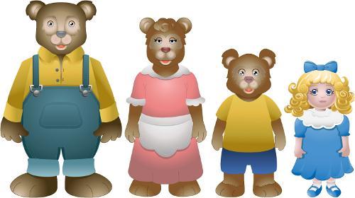 The fairy tail of Goldilocks and the three bears.