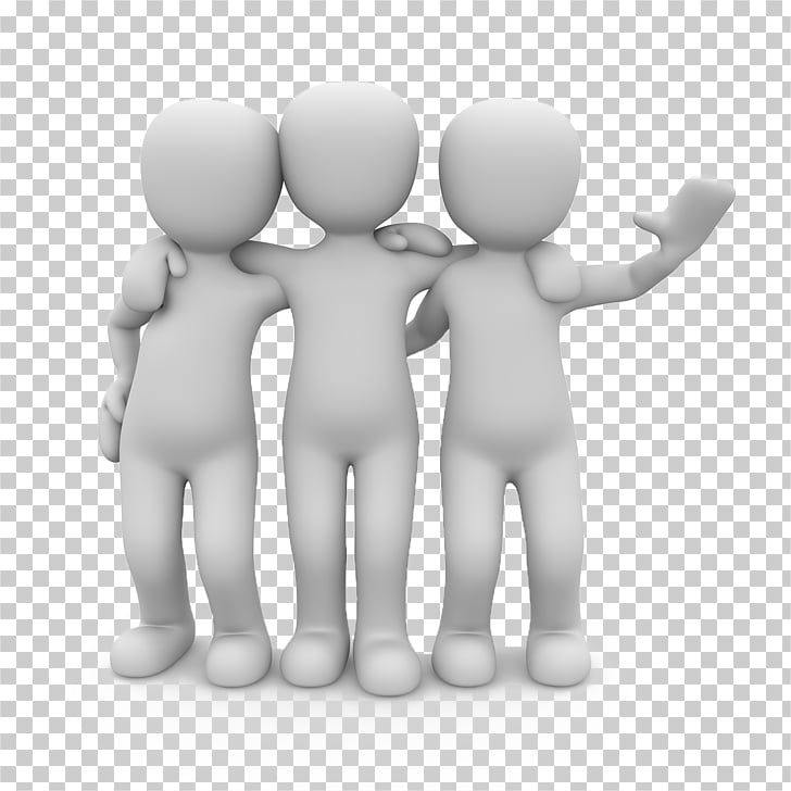 Stock photography 3D film Illustration, Three friends, group.