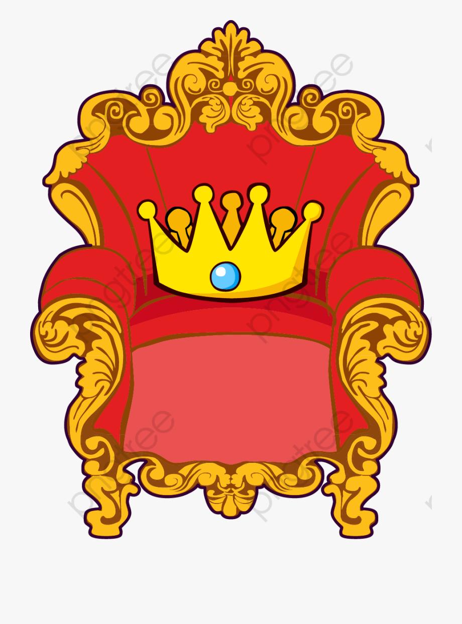 Cartoon Throne Golden Red Crown.