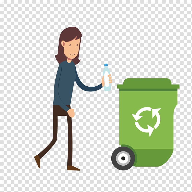 Woman throwing bottle in trash bin art, Waste container Recycling.