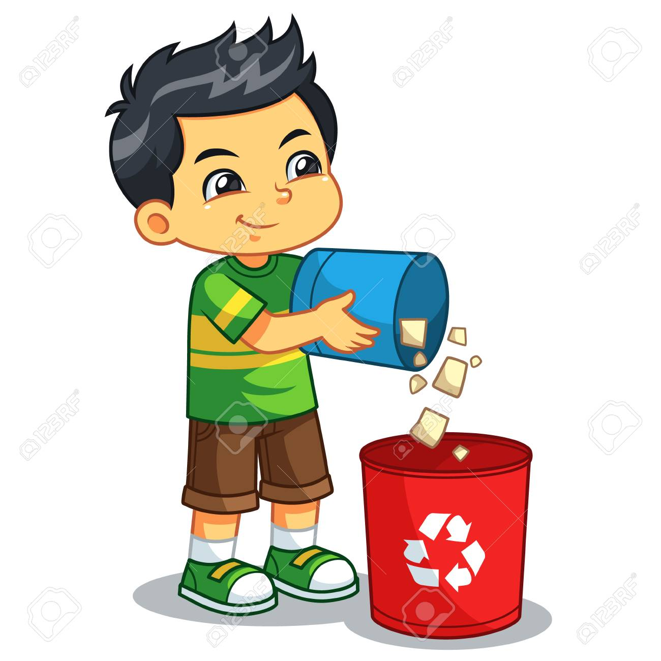 Boy Throwing Garbage In The Trash Can..