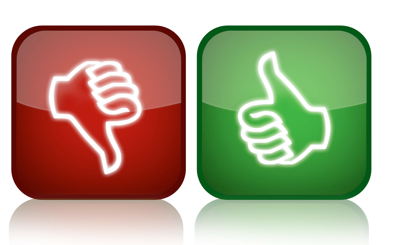 Thumbs up thumbs down pic clipart.