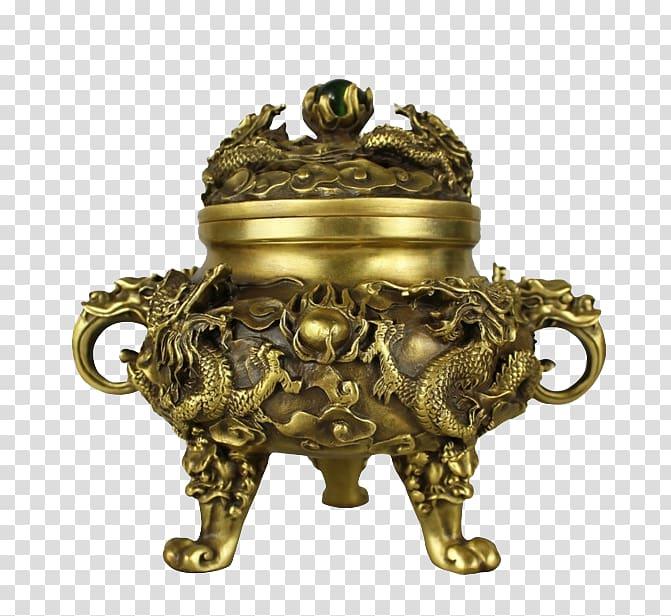 Censer Copper Thurible Buddhahood Amitabha triad, Gold.