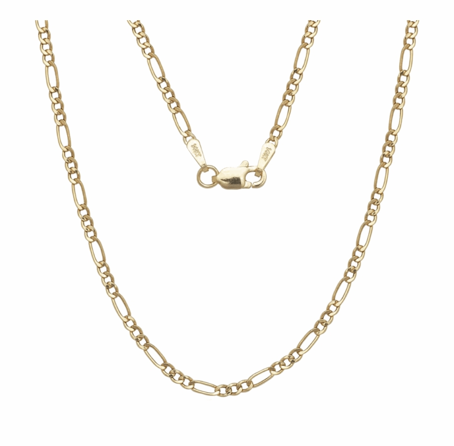 A&m 14k Gold Thin Figaro Necklace.