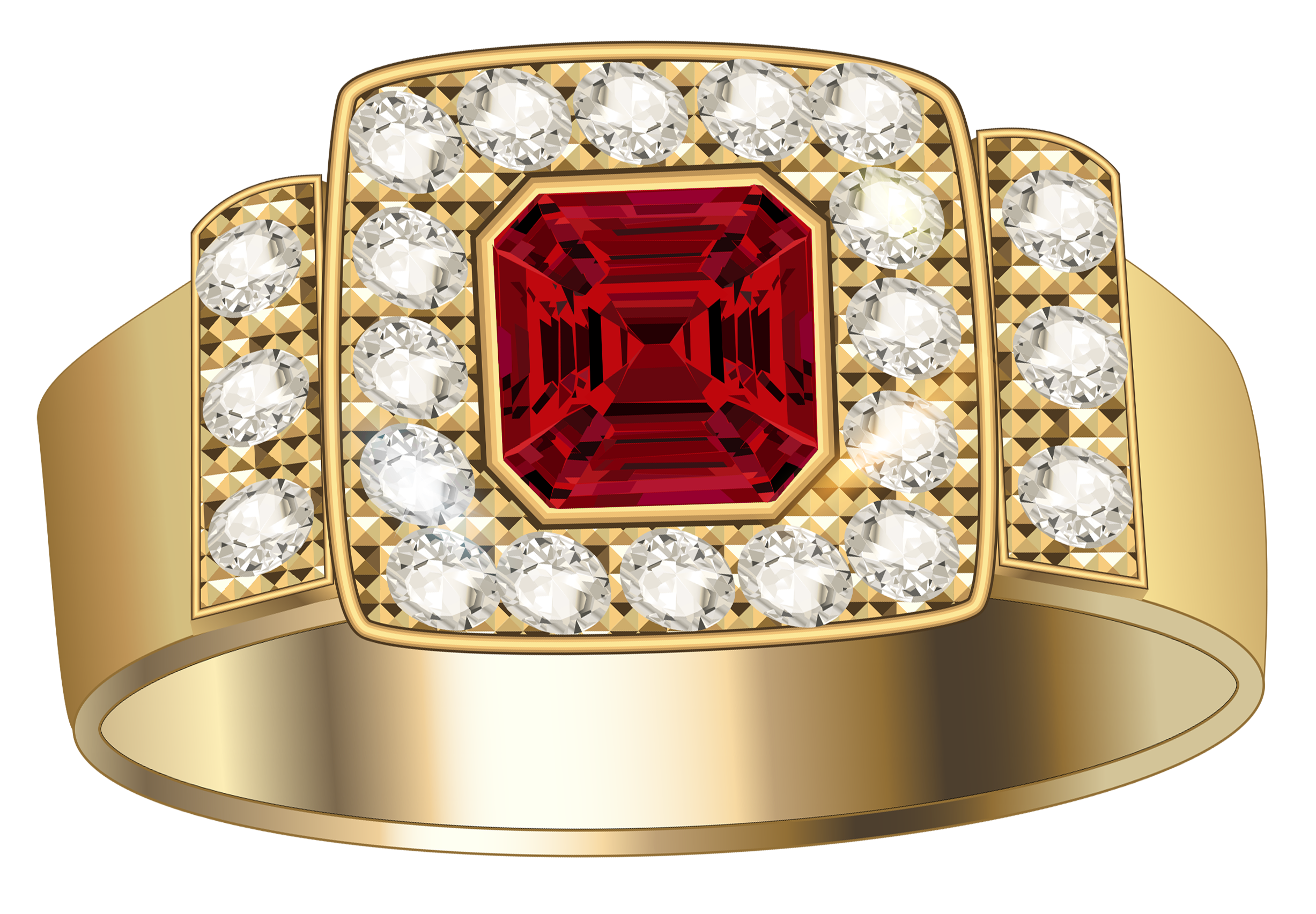 Gold Ring with Diamonds and Ruby Clipart.