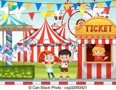 Children at the circus ticket booth.