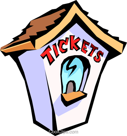 ticket booth Royalty Free Vector Clip Art illustration.