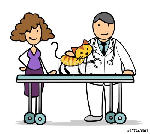 Frau mit Katze beim Tierarzt\
