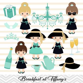 Breakfast at Tiffany\'s Digital Clipart, Tiffany Girls Digital Clip Art.