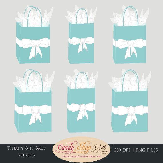 Tiffani Turqouise Gift Bags Clipart.