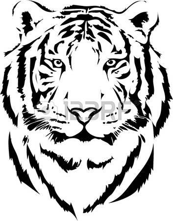 Clipart tiger black and white silhouette clipground - Tete de tigre dessin facile ...