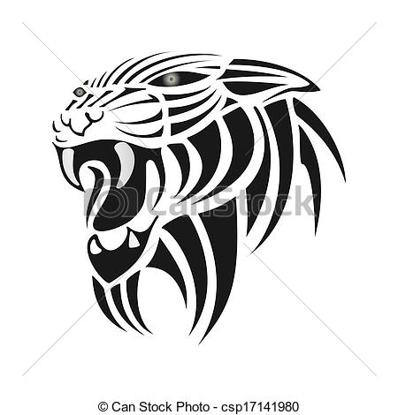 Black Silhouette Of Tiger On A Vector.