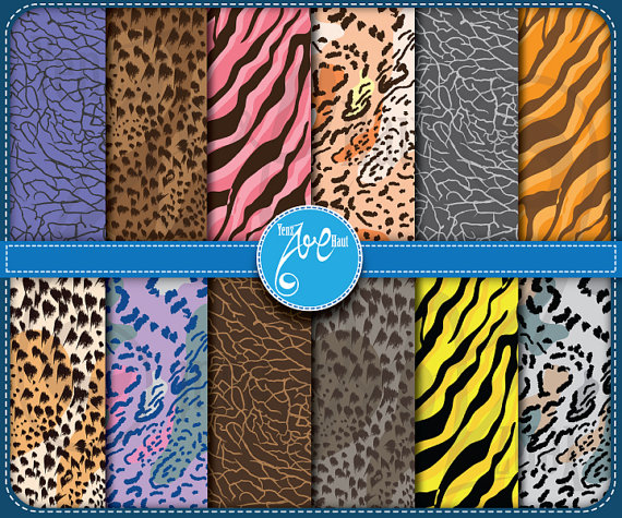 Digital Paper Animal Print Clip Art Printable animal skin.