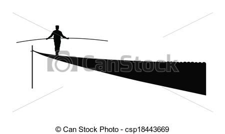 Clip Art Vector of tightrope walker over white csp18443669.