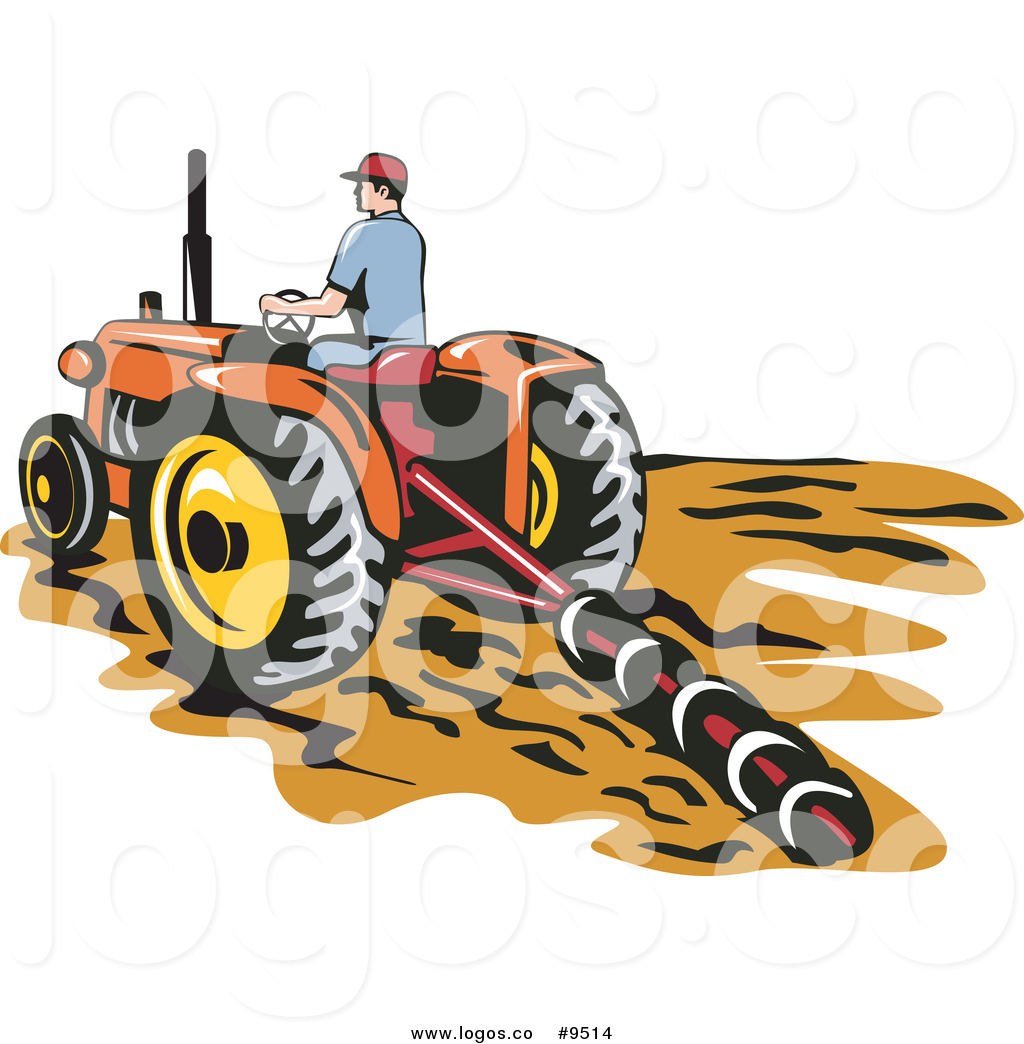 Vector Logo of a Farmer Tilling a Field with a Tractor by.