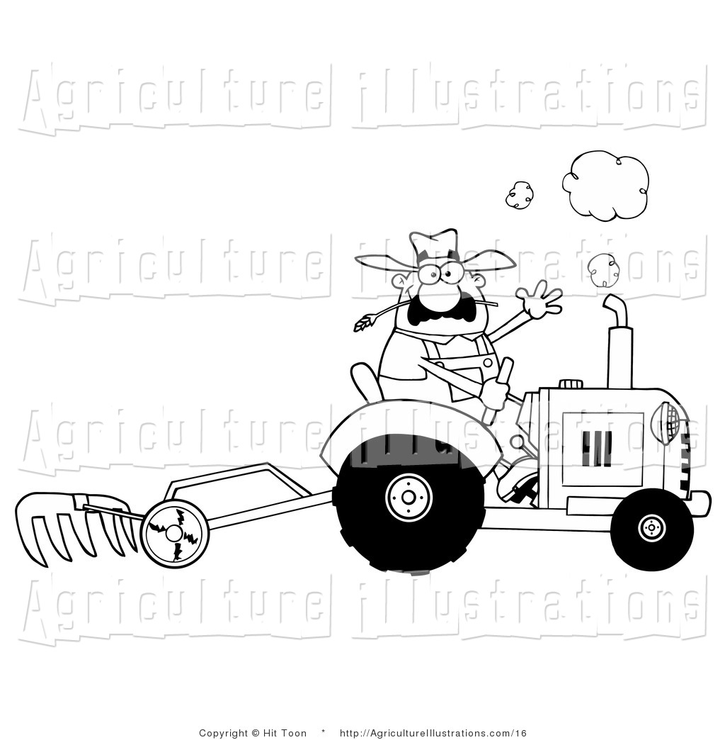 Vector Clipart of a Coloring Page Outline of a Farmer Waving.