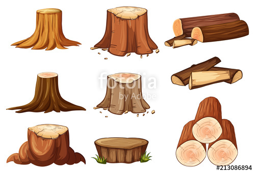 A Set of Tree Stump and Timber\