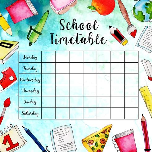 Back To School Timetable.