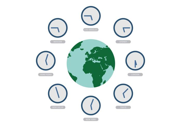 Vector World with Time Zone Clocks.