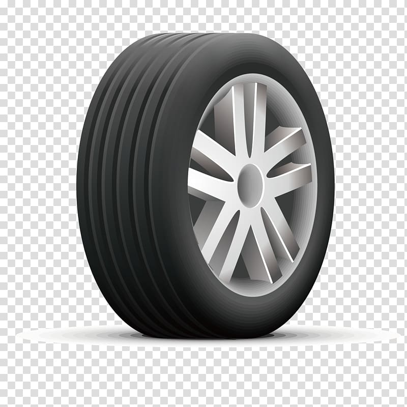 Silver automotive wheel and tire illustration, Car Tire.