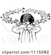 Clipart of a Retro Vintage Black and White Tired Boy in a Chair.