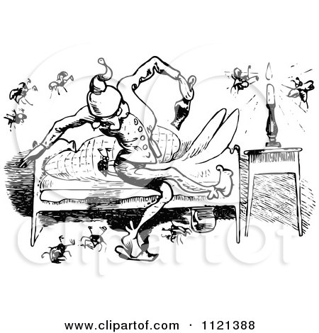 Clipart of a Retro Vintage Black and White Tired Boy Rubbing His.