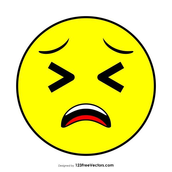 Tired Face Emoji Clipart.