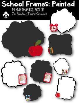 {FREE today} School Frames: Painted Clipart ~ Commercial OK.