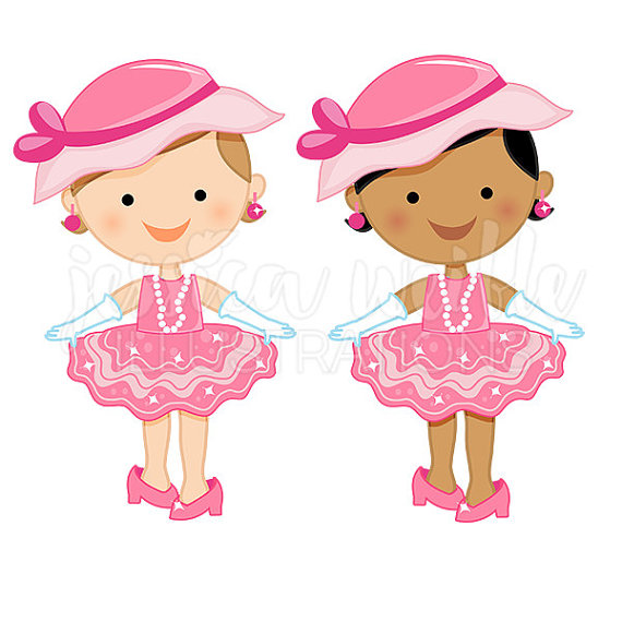 Dress Up Baby Girl Cute Digital Clipart Toddler Girl Clip.
