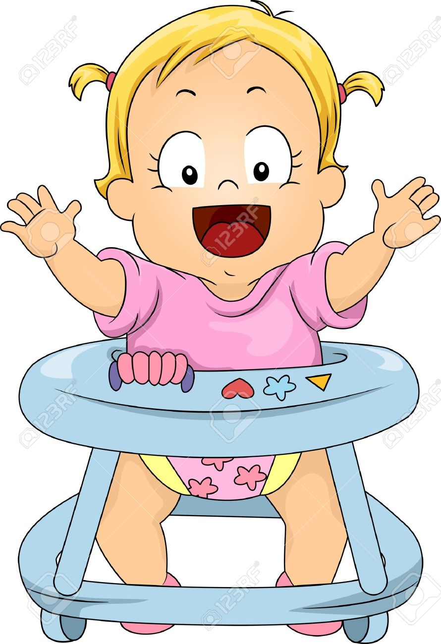 Clipart Toddler Girl And Baby.