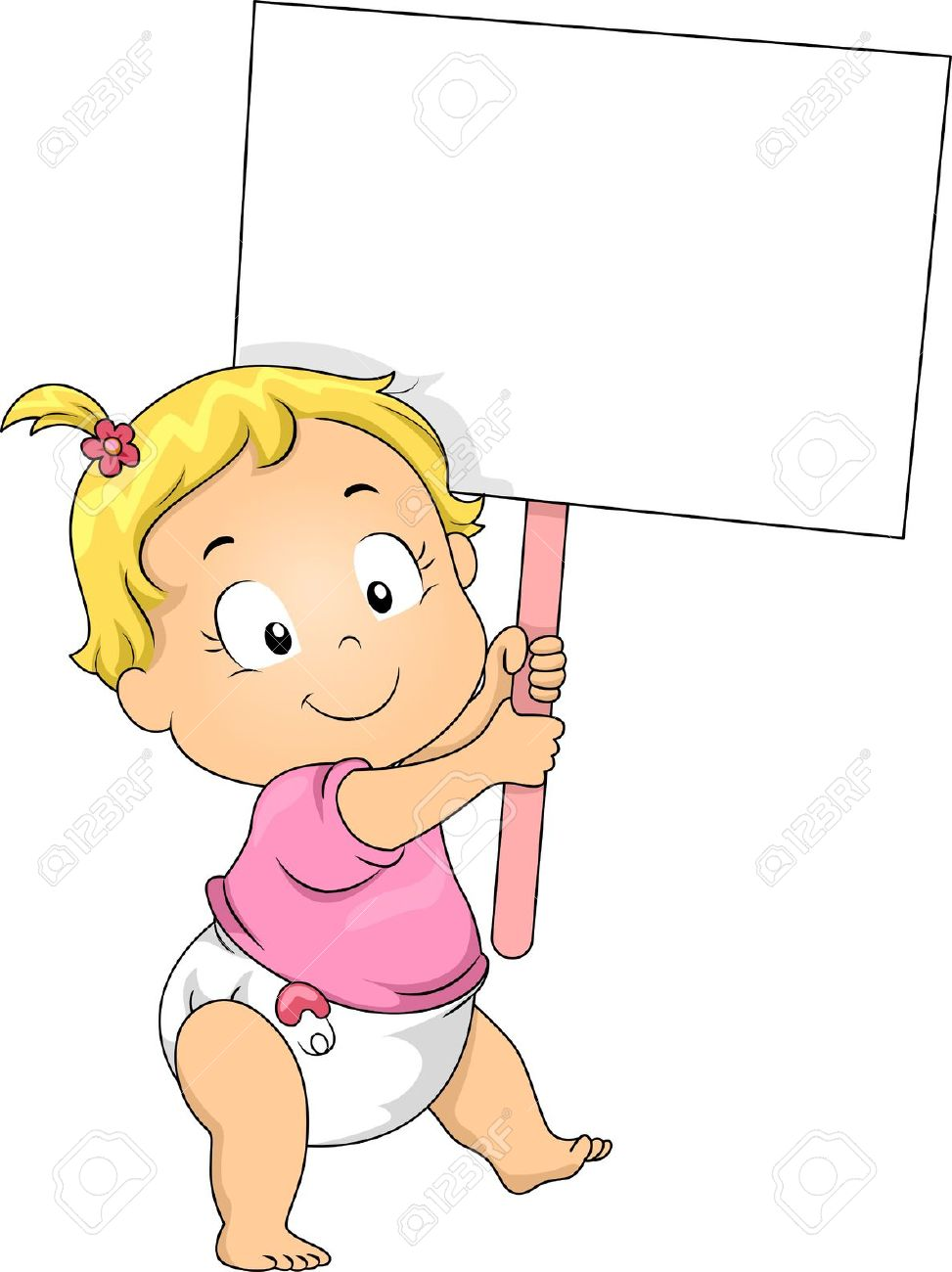 Illustration Of A Toddler Girl Holding A Blank Board Stock Photo.