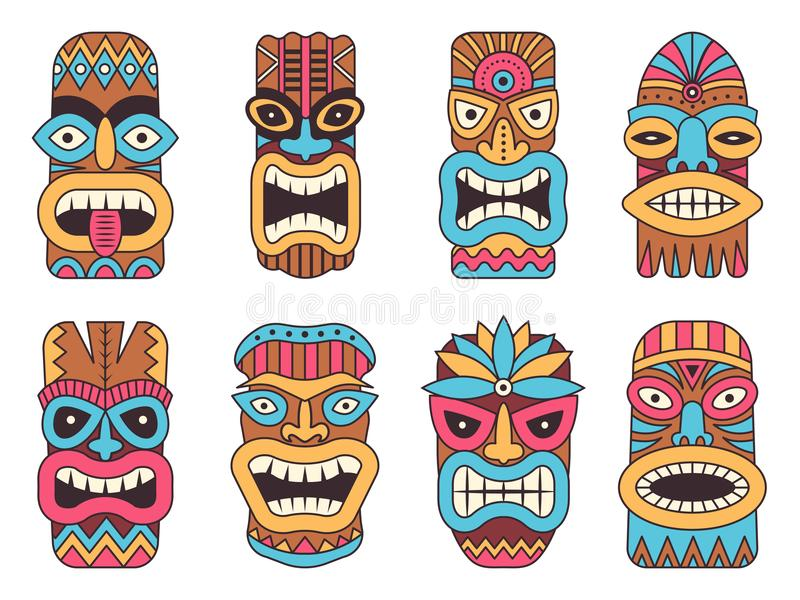 Tiki Totem Stock Illustrations.