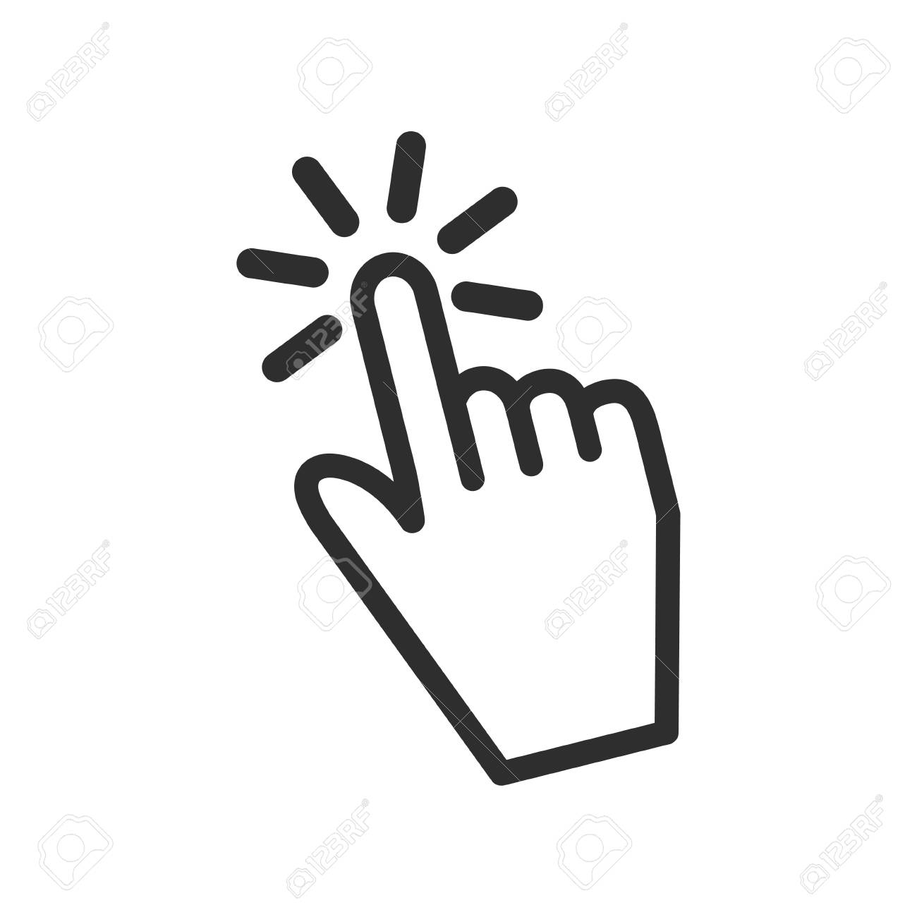 Touch vector icon. Black illustration isolated on white background...