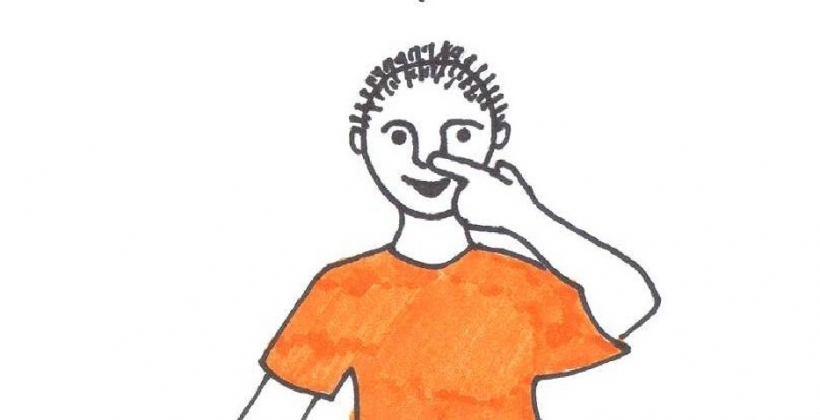 Touch your nose clipart hand.