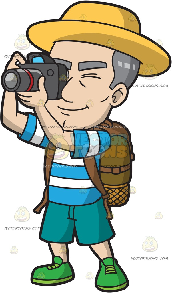 A Mature Male Tourist Snapping Photos » Clipart Station.