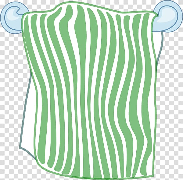 Green and white striped towel illustration, Paper towel Bathtub.