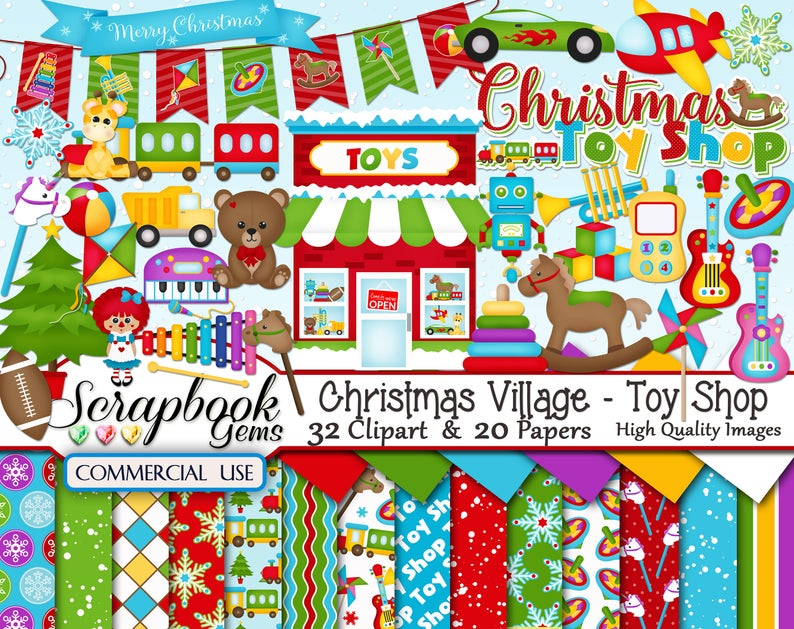 CHRISTMAS TOY SHOP Clipart & Papers Kit, 32 png Clipart files, 20 jpeg  Paper files, Instant Download, train, teddy bear, football, winter.