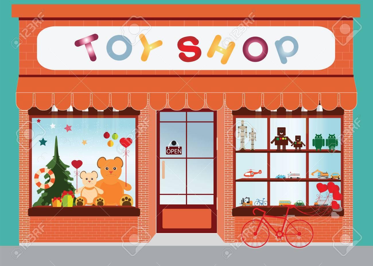 Toy shop window display, exterior building, kids toys vector...