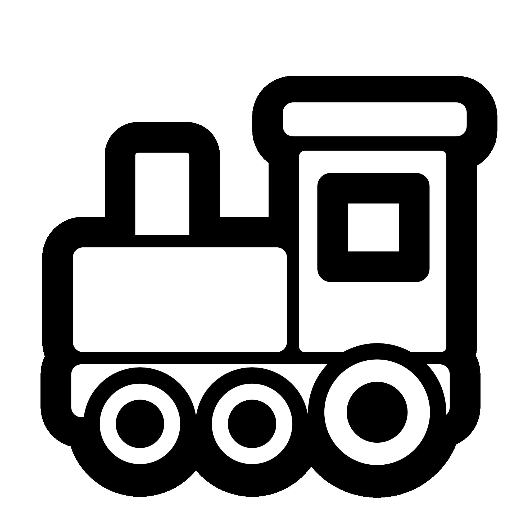 Toy Train Icon Black White.