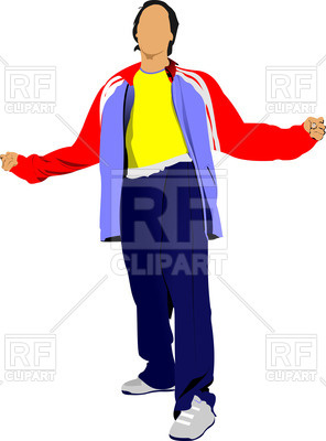 Silhouette of man in tracksuit Vector Image.