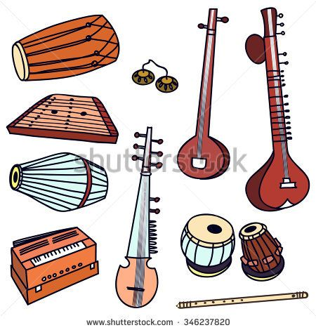 Isolated traditional indian instruments. Vector set for.