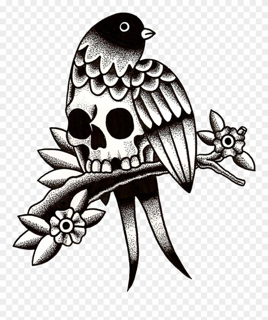 Skull Bird Traditional Tattoo Black And Grey, Traditional.