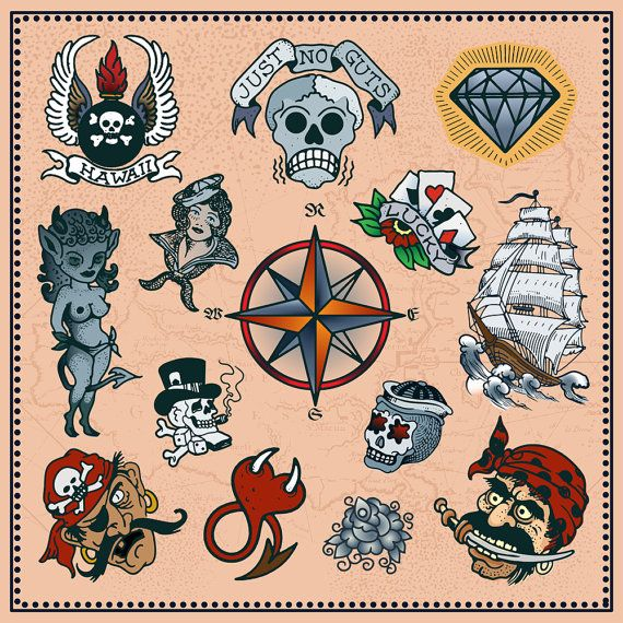 Set of Tattoos in Traditional Vintage Style. Vector.