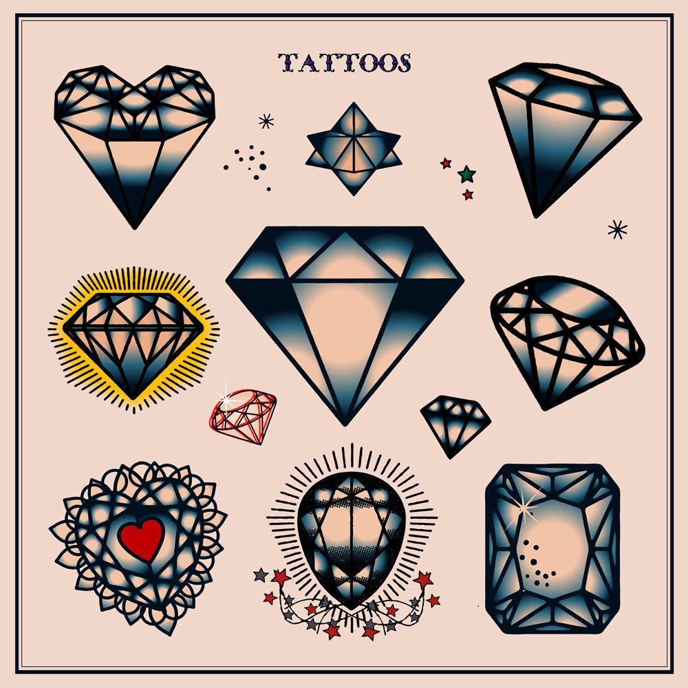 Set of Diamond Tattoos in Traditional Vintage Style. Vector.