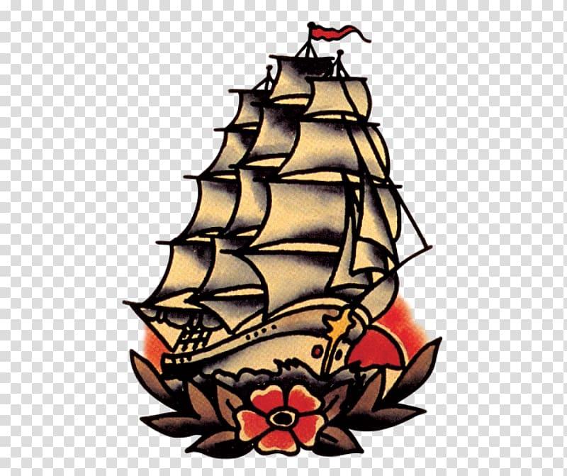 Sailing ship , Sailor Jerry Tattoo Flash: Michael Malone.