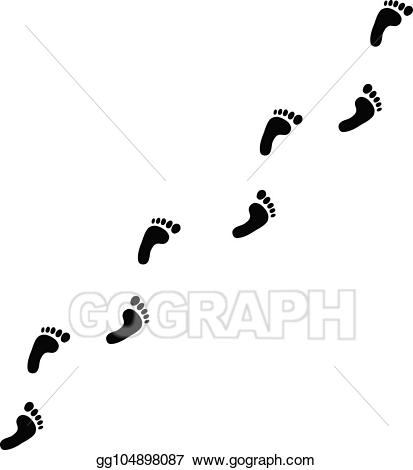 EPS Vector Human Foot Prints Diagonal Trail Illustration Beautiful.